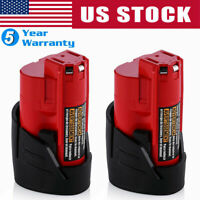 2xFor Milwaukee 48-11-2411 M12 12V Lithium Compact Battery Pack 2.5AH 48-11-2420