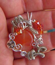 OOAK Wire Wrapped Carnelian Gemstone W/ Crystal AB Beads Pendant Charm #Q18