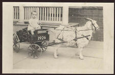 RPPC 1926 DENVER CO GOAT PULLING CHILD IN OLD WOODEN WAGON PHOTO POSTCARD PC1732