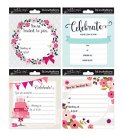 Pack of 16 Adult Invitations Cards + Envelopes / Party Celebration / Birthday