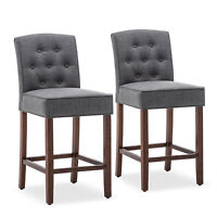 """Set of (2) Tufted Upholstered Counter Height Barstool Gray Dining Chair Seat 27"""""""