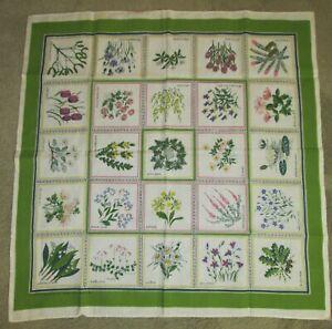 GORGEOUS Vintage SWEDISH Table Cloth-SVERIGE BLOMSTER-M M DAHLIN