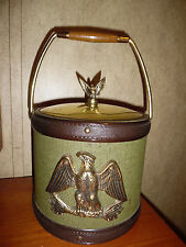 VINTAGE ICE BUCKET WITH EAGLE ON GREEN FABRIC