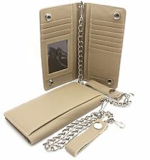 Bifold Taupe Genuine Leather Checkbook Holder Snap Button Wallet with a Chain