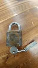 Antique Vintage Brass Yale & Towne Lock w/ Key