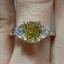 Real 14K White Gold Rings 1.30 CT Fancy Deep Brownish Orangy Stone Ring Size M N