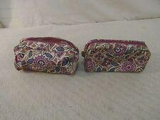 "(2) Estee Lauder White Pink Blue Flower Design 9"" X 5"" Travel Makeup Bags 34099"