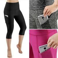 Womens Capri Yoga Pants Pocket Gym Finess Running Workout Sport Crop Leggings XL