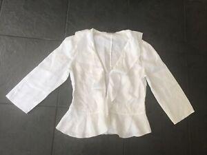 Alex & Co Blouse 100% Linen - Size 8- White with frill designVgc
