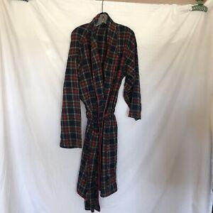 Vintage Polo Ralph Lauren Plaid Robe Size L/XL Blue Flannel Tie Waist Pockets