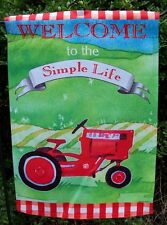 """""""Welcome to the Simple Life"""" Red Farming Tractor decorative Garden Flag"""