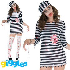 Womens Zombie Convict Costume Prisoner Halloween Scary Horror Fancy Dress Outfit