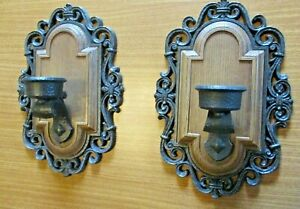Vintage Syroco Candle Holder Wall Sconce Faux Woodgrain Brown Black Gothic USA