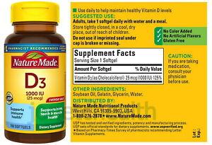 (100 Softgels) Nature Made Vitamin D3 1000 IU Supports Immune Bone Teeth Muscle