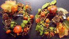 "Lot set of 2 Candle Rings PUMPKIN FALL DECOR HALLOWEEN 2.5""  ORANGE berries"