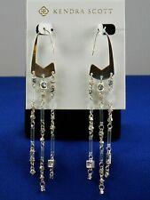 Kendra Scott Silvertone Lilac Nanogem Mix Corza Long Fringe Statement Earrings