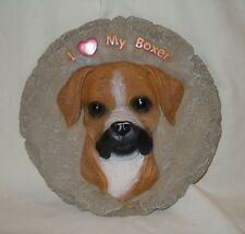 """Resin """"I Love My Boxer"""" Garden Stepping Stone Dog Collectible by Spoontiques"""