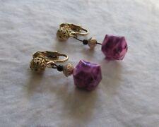 Vintage Purple Square Box Drop Clip On Earrings. Goddess Jade Jewelry