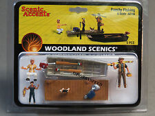 WOODLAND SCENICS FAMILY FISHING o gauge train figures boat dock poles WDS2756
