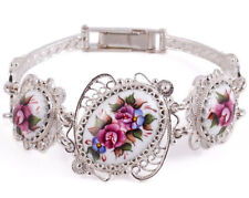 "Bracelet Finift Hand Painted Russia White Pink Flowers 6"" Copper Silver Plated"