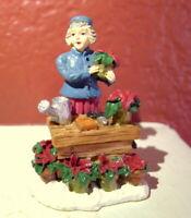 Grandeur Noel Victorian Village Christmas Poinsettia Merchant 1999 Replacement