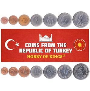 SET OF 7 COINS FROM TURKEY. 1, 5, 10, 25, 50 KURUS, 1, 2.5 LIRA. 1957-1980