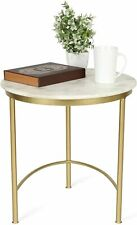 Penguin Home Small Coffee Round Side End Table, Marble Top Gold Frame 43Hx33L cm