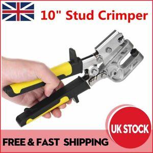 "10"" Stud Crimper TPR Handle Metal Punch Lock Hand Dry Wall Plaster Board Tool UK"