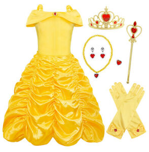 Princess Belle Girls Costume Dress With Accessory For Halloween Birthday Party 1