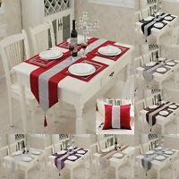 Diamante Table Runner Velvet Satin Tasseled Edges Wedding Napkins Cushion Cover