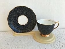 Royal Albert Fine English Bone China Teacup & Saucer Black Swirl (343)