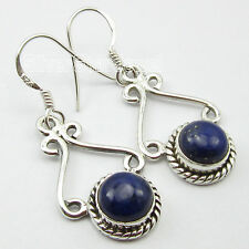 Cabochon Navy Blue Lapis Lazuli Earrings Stamped' 925 Pure Silver 8x8 mm Round