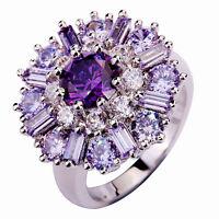 Amethyst Tourmaline White Topaz Gemstone Saucy Posh Silver Ring Size N P R T V Y