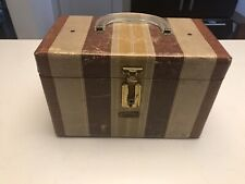VINTAGE NEEVEL GADABOUT TRAIN CASE WITH MIRROR LUCITE HANDLE