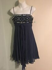 Women's BCBGMAXAZRIA Navy Silk Embellished Dress, Size 4, NWOT
