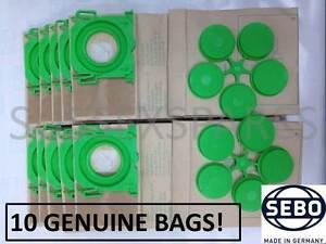 GENUINE SEBO DUST BAGS X 10, 5093ER X C X1 X4 X4 X7 PET 370 470 EXTRA PET. UK