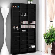 Large Media Storage CD DVD Cabinet Black Furniture Modern Room Tall Display Unit