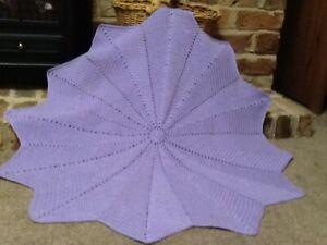 "Crochet Baby Blanket/Shawl Star Girl OOAK Handmade 38"" Soft Lilac"