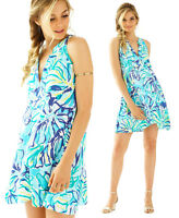 $188 Lilly Pulitzer Achelle Pool Blue Stay Cool Print Flowy Swing Dress S