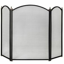 Fire Screen Spark Guard Black Gold Fireplace Fireside Freestanding Home Discount