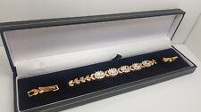 Yellow gold finish created diamond flower design bracelet leather gift boxed