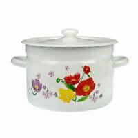 L'Émail Marmite Soupe Ragoût 3L Casserole Cuisine Poêle Avec Blanc Fleurs