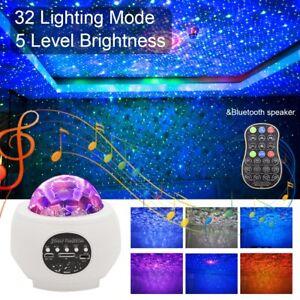 UK Romantic Galaxy Night Light Lamp Projector LED Ocean Wave Starry Star White