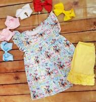 girls toddler boutique ruffle shorts with minnie tunic outfit set