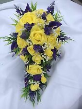 Scottish Wedding Flowers Bride's Bouquet Thistles ,Gyp, Lillies & Yellow Roses