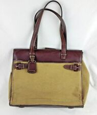 Franklin Covey Canvas Leather Business Computer Bag Briefcase Messenger Brown