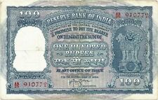INDIA RS 100 ; BIG SIZE NOTE VF-XF IYENGAR 2 ELEPHANT CORRECT HINDI RED SERIAL