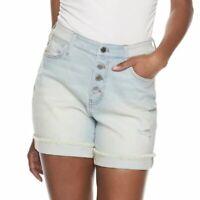 Jennifer Lopez Womens High Waist Button Fly Distressed Jean Shorts Sz 14 NWT