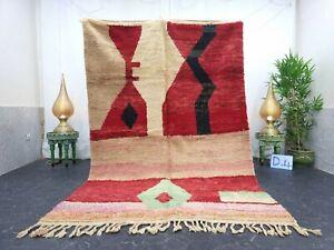 """Moroccan Boujaad Handmade Rug 5'7""""x8'5"""" Berber Patchwork Red Black Wool Rug"""