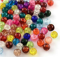 100 CRACKLE GLASS BEADS 8mm MIXED COLOURS FOR JEWELLERY MAKING AND CRAFTS B14